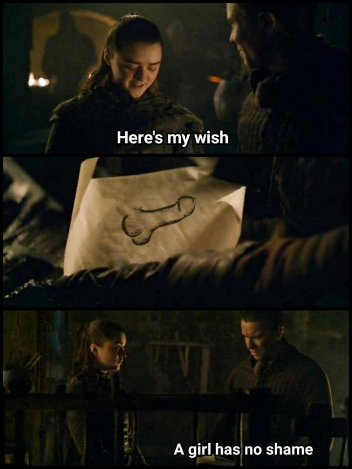 "91 Game of Thrones Memes - ""Here's my wish. A girl has no shame."""