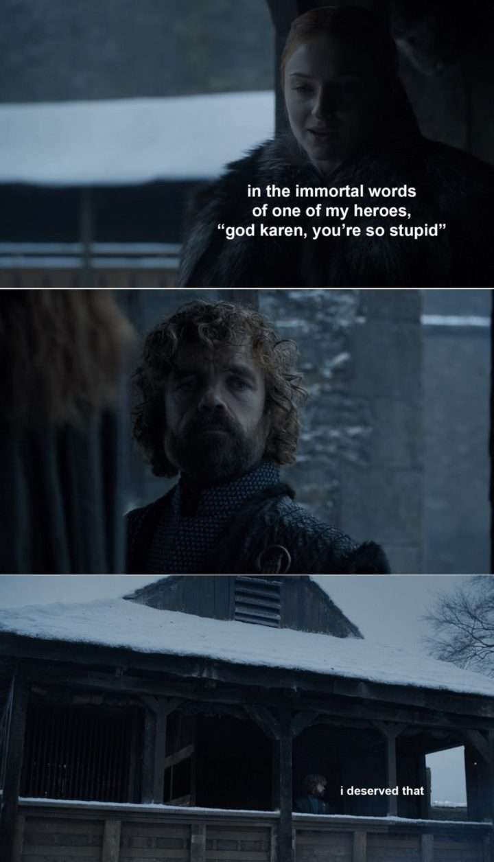 "91 Game of Thrones Memes - ""In the immortal words of one of my heroes, 'God Karen, you're so stupid.' I deserved that."
