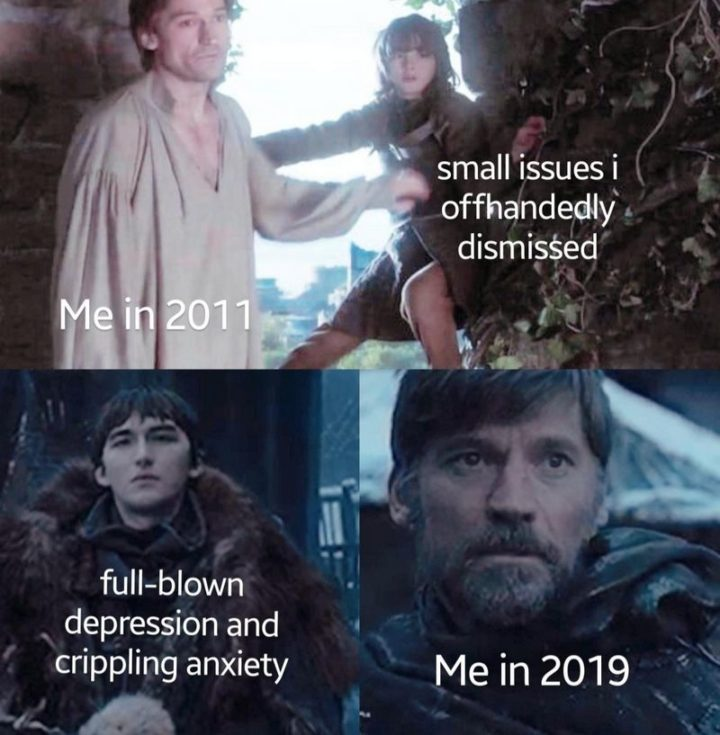 "91 Game of Thrones Memes - ""Me in 2011: Small issues I offhandedly dismissed. Me in 2019: Full-blown depression and crippling anxiety."""