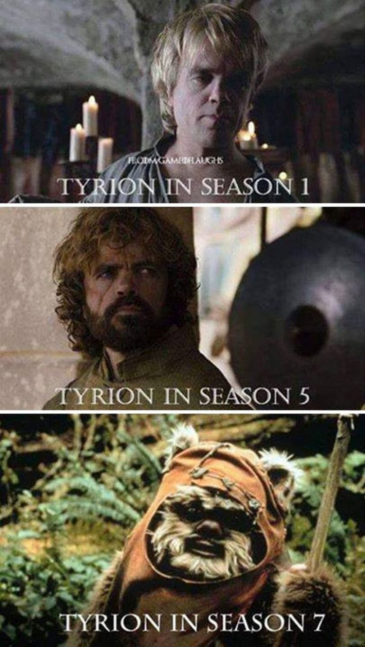 "91 Game of Thrones Memes - ""Tyrion in season 1. Tyrion in season 5. Tyrion in season 7."""