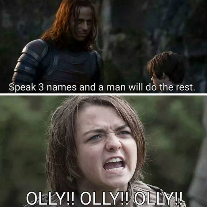 "91 Game of Thrones Memes - ""Speak 3 names and a man will do the rest. Olly!! Olly!! Olly!!"""