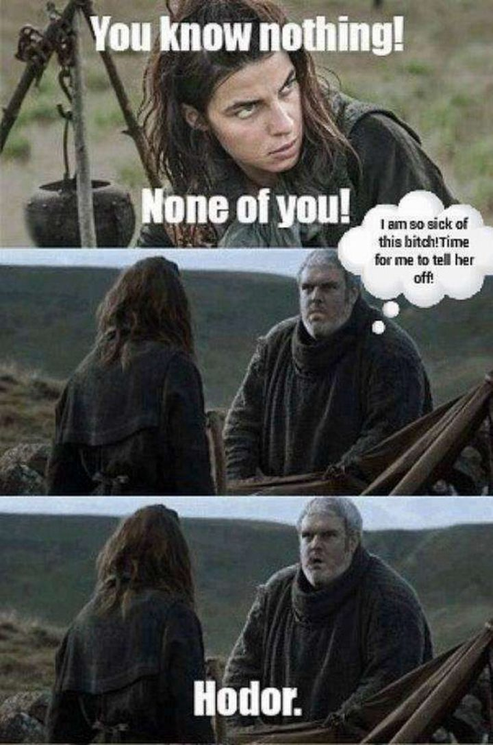 "91 Game of Thrones Memes - ""You know nothing! None of you! I am so sick of this b***h! Time for me to tell her off! Hodor."""
