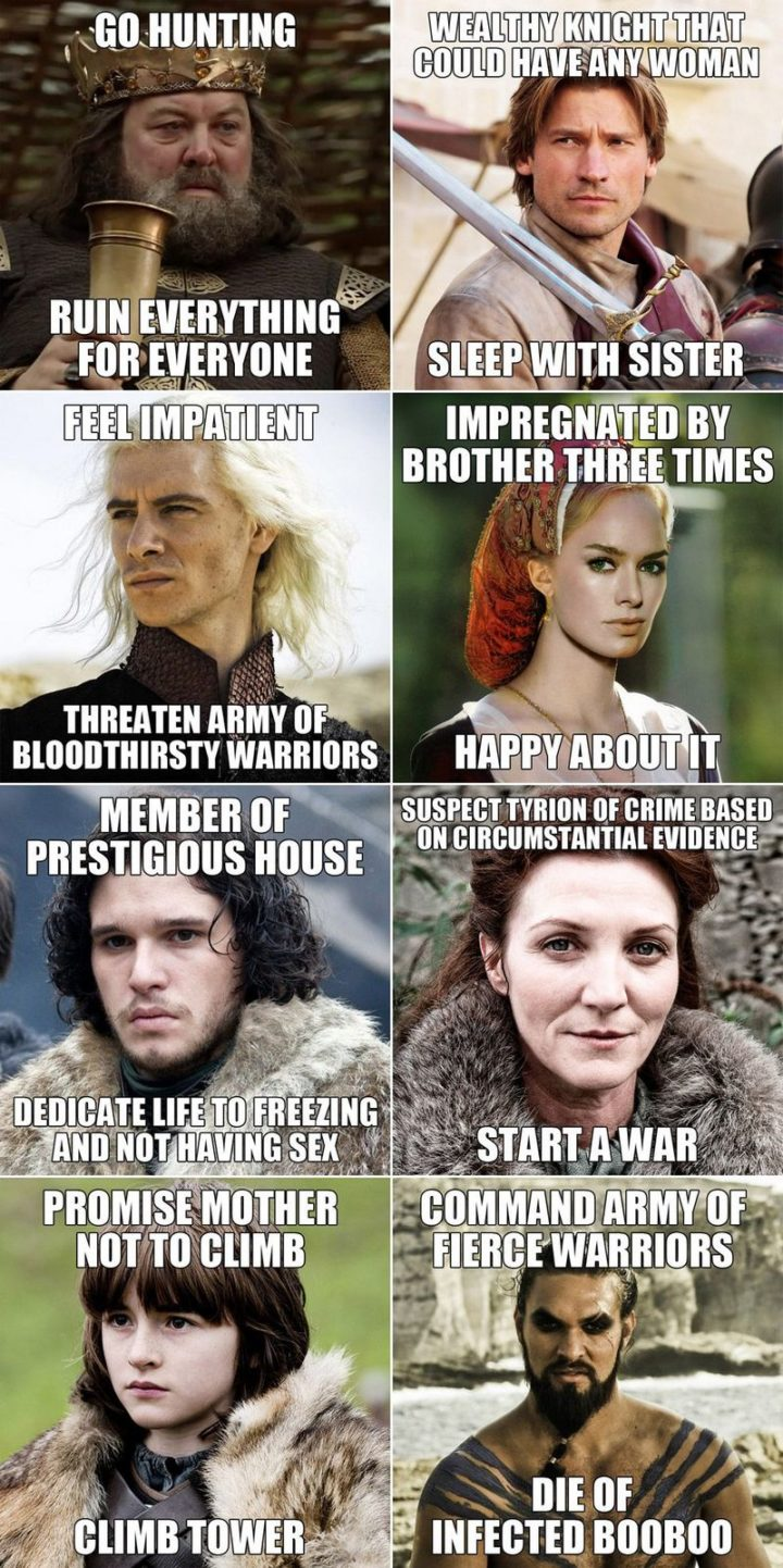 "91 Game of Thrones Memes - ""Go hunting. Ruin everything for everyone. Wealthy knight that could have any woman. Sleep with sister. Feel impatient. Threaten army of bloodthirsty warriors. Impregnated by brother three times. Happy about it. Member of prestigious house. Dedicate life to freezing and not having sex. Suspect Tyrion of crime based on circumstantial evidence. Start a war. Promise mother not to climb. Climb tower. Command army of fierce warriors. Die of infected booboo."""