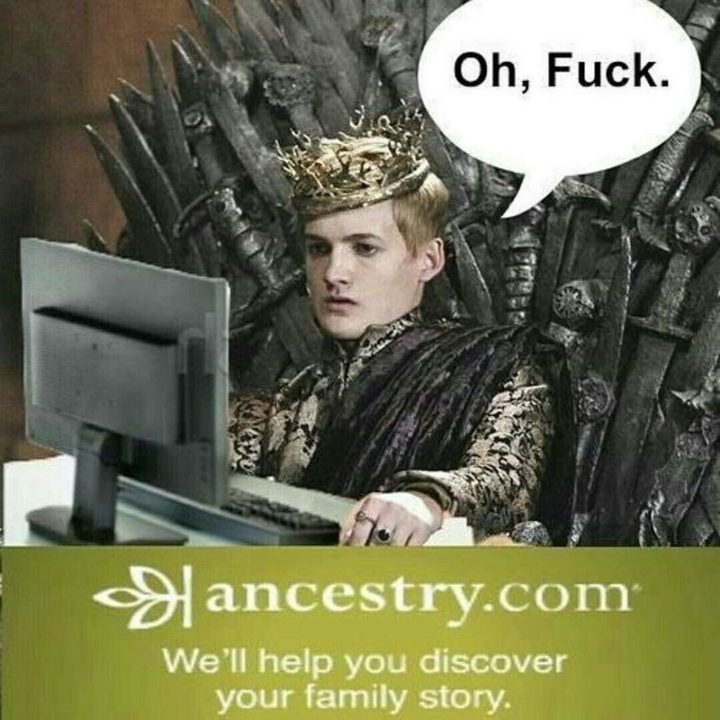 "91 Game of Thrones Memes - ""Ancestry.com, we'll help you discover your family story. Oh, f**k."""