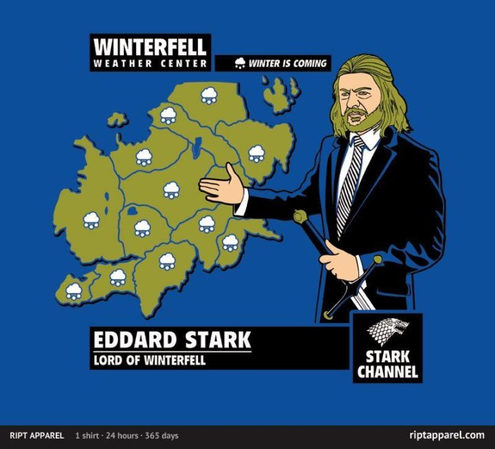 "91 Game of Thrones Memes - ""Winterfell Weather Center. Winter is coming. Eddard Stark. Lord of Winterfell."""