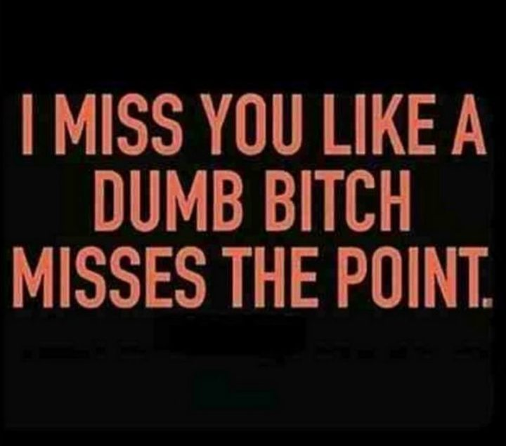 "101 I miss you memes - ""I miss you like a dumb b***h misses the point."""