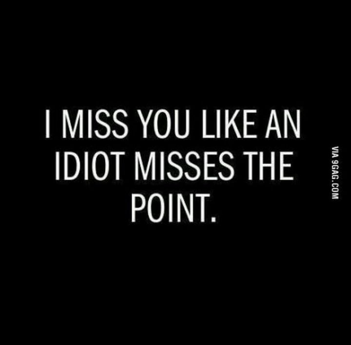 "101 I miss you memes - ""I miss you like an idiot misses the point."""