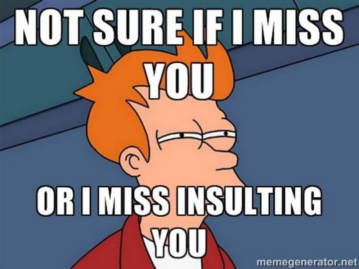 "101 I miss you memes - ""Not sure if I miss you or I miss insulting you."""