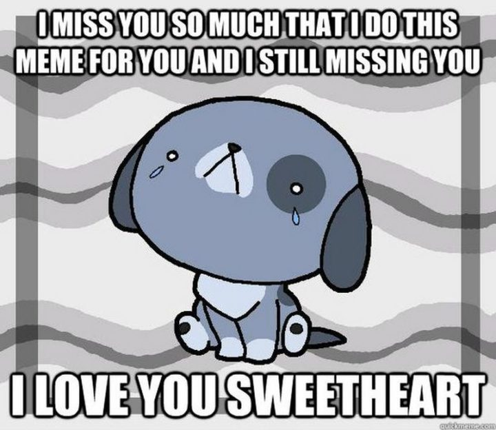 "101 I miss you memes - ""I miss you so much that I do this meme for you and I'm still missing you. I love you, sweetheart."""