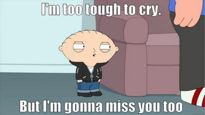 "101 I miss you memes - ""I'm too tough to cry. But I'm gonna miss you too."""