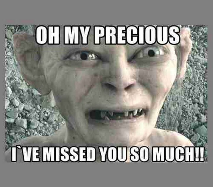 "101 I miss you memes - ""Oh my precious, I've missed you so much!!"""
