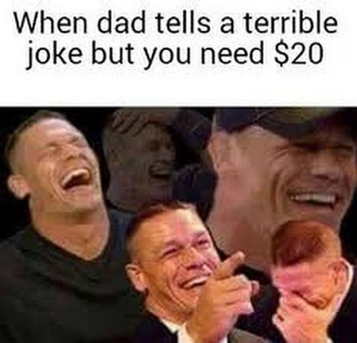 "71 Funny Dad Memes - ""When dad tells a terrible joke but you need $20."""