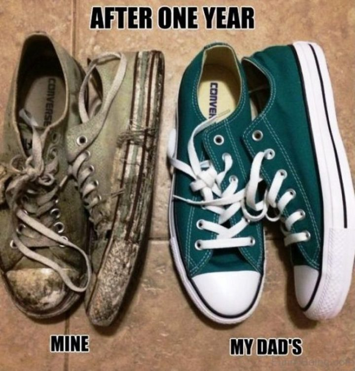 "71 Funny Dad Memes - ""My Converse sneakers vs my dad's after one year."""
