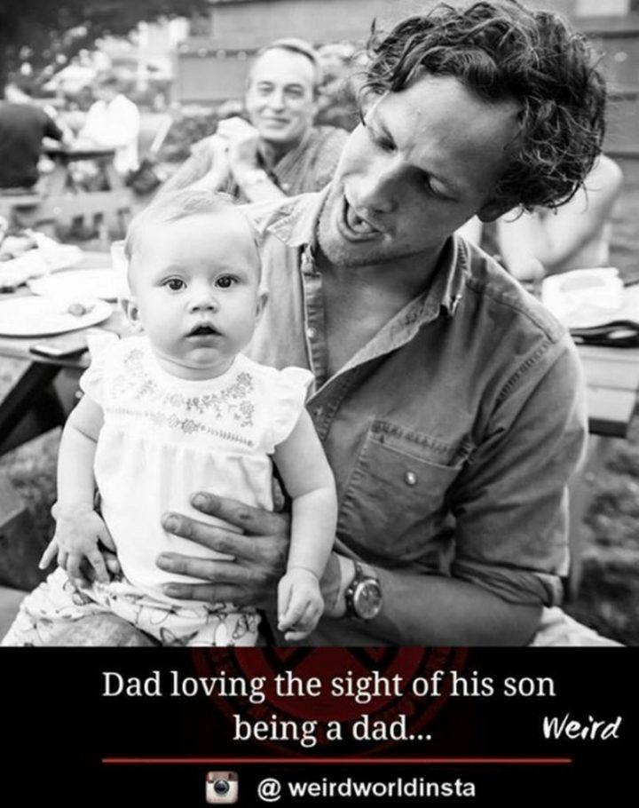 "71 Funny Dad Memes - ""Dad loving the sight of his son being a dad..."""
