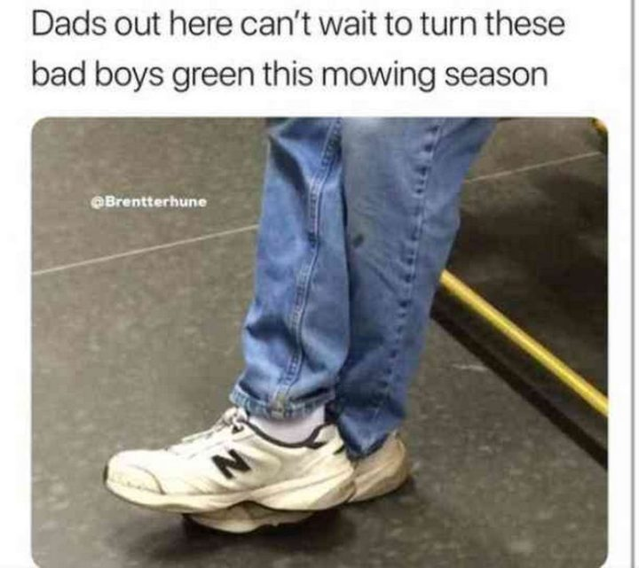 "71 Funny Dad Memes - ""Dads out here can't wait to turn these bad boys green this mowing season."""