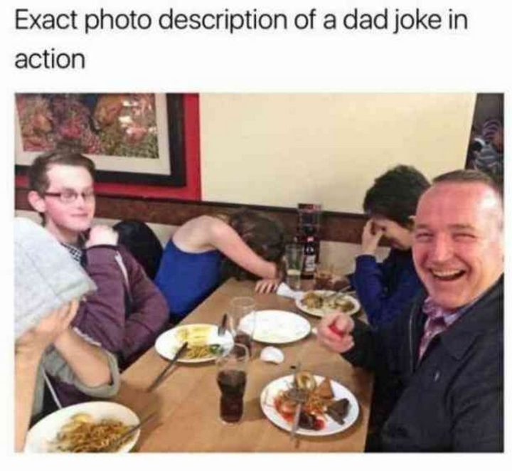 "71 Funny Dad Memes - ""Exact photo description of a dad joke in action."""