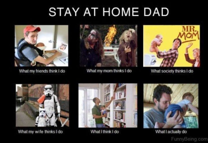 "71 Funny Dad Memes - ""Stay at home dad: What my friends think I do. What my mom thinks I do. What society thinks I do. What my wife thinks I do. What I think I do. What I actually do."""