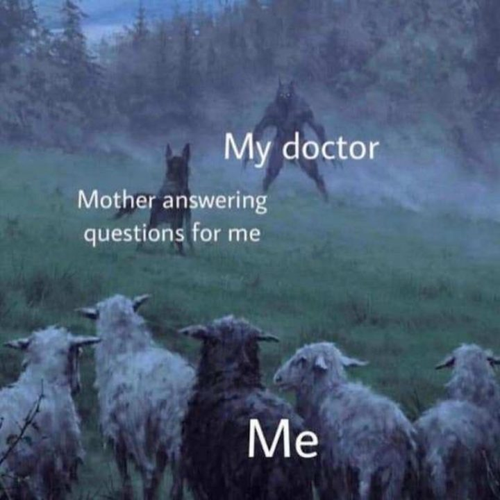 "Hilariously Funny Memes - ""My doctor. Mother answering questions for me. Me."""