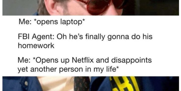 "Hilariously Funny Memes - ""Me: *opens laptop*. FBI Agent: Oh, he's finally gonna do his homework. Me: *Opens up Netflix and disappoints yet another person in my life*."