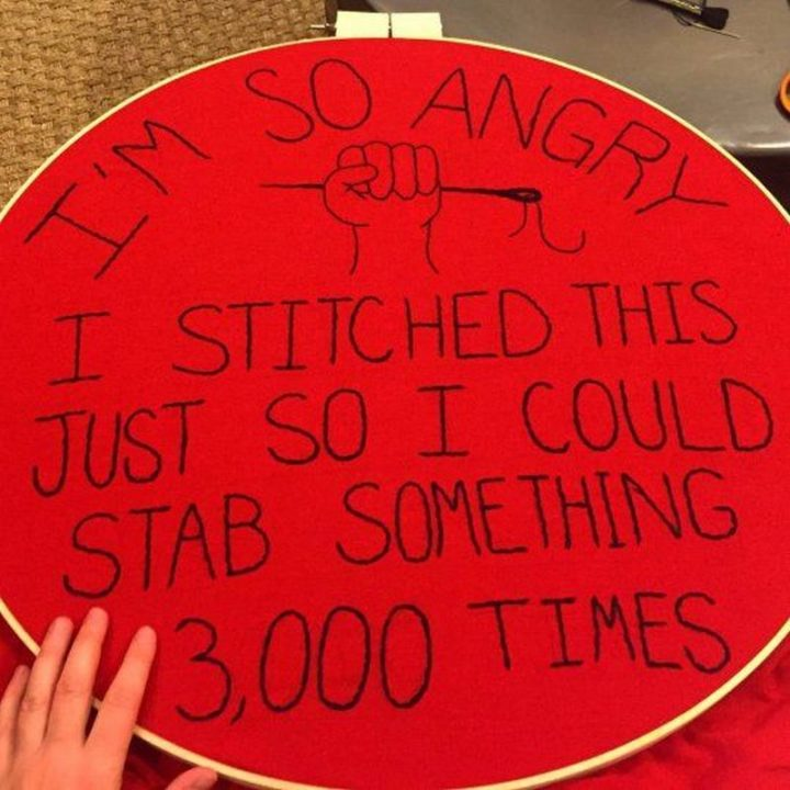 "Hilariously Funny Memes - ""I'm so angry I stitched this just so I could stab something 3,000 times."""