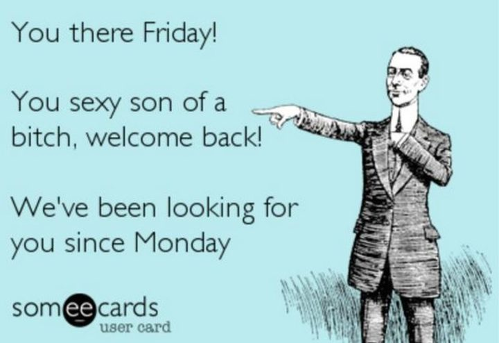 "Hilariously Funny Memes - ""You there Friday! You sexy son of a b***h, welcome back! We've been looking for you since Monday."" Friday memes or Monday memes anyone?"