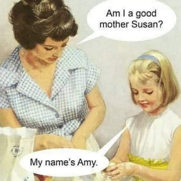 "101 Funny Mom Memes - ""Am I a good mother Susan? My name's Amy."""