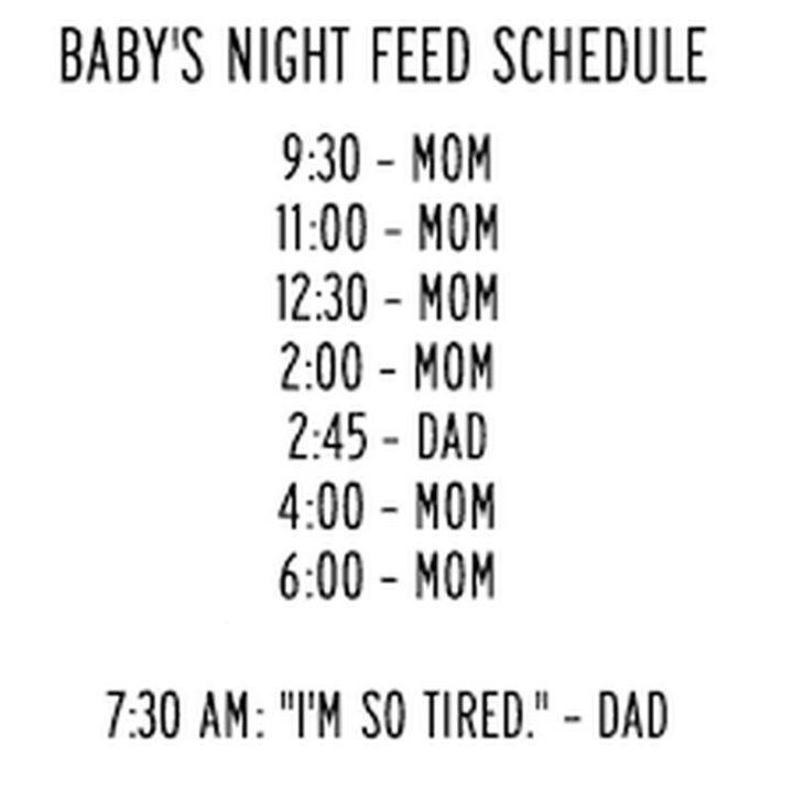 """101 Funny Mom Memes - """"Baby's night feed schedule. 9:30 - mom. 11:00 - mom. 12:30 - mom. 2:00 - mom. 2:45 - dad. 4:00 - mom. 6:00 - mom. 7:30 AM: 'I'm so tired.' - dad."""""""
