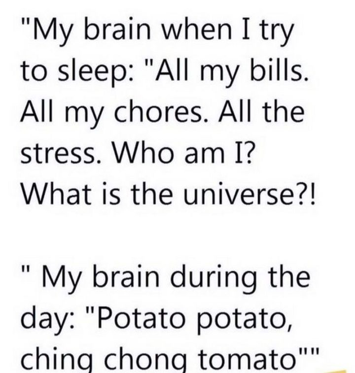 "101 Funny Mom Memes - ""My brain when I try to sleep: All my bills. All my chores. All the stress. Who am I? What is the universe? My brain during the day: Potato potato, ching chong tomato."""
