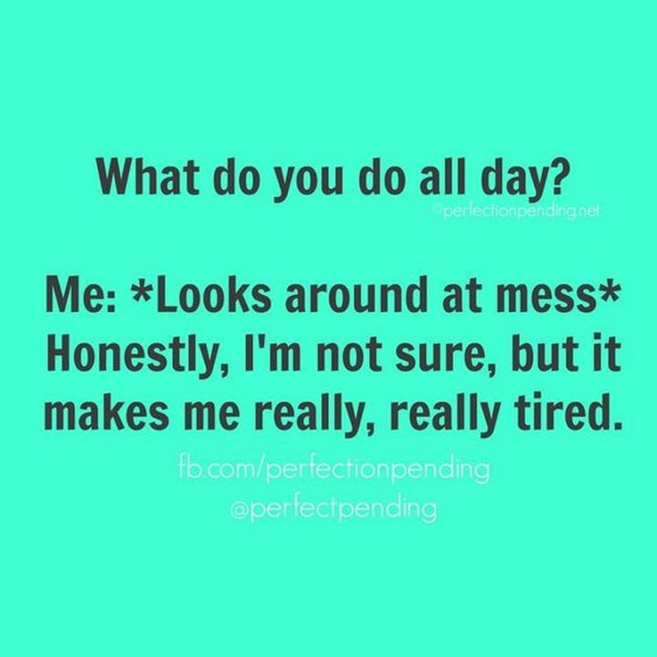 "101 Funny Mom Memes - ""What do you do all day? Me: *Looks around at mess* Honestly, I'm not sure, but it makes me really, really tired."""