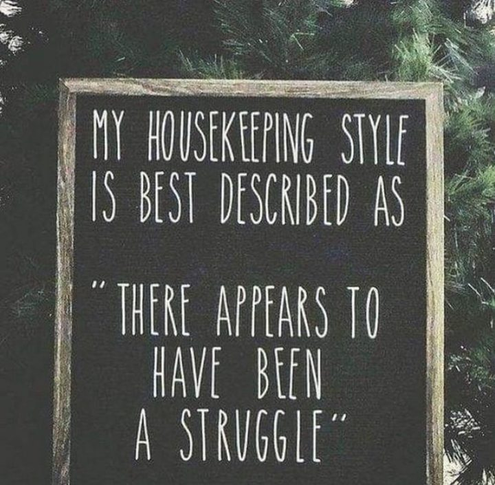 "101 Funny Mom Memes - ""My housekeeping style is best described as 'there appears to have been a struggle'."""