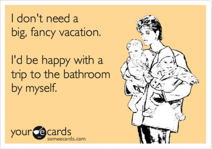 "101 Funny Mom Memes - ""I don't need a big, fancy vacation. I'd be happy with a trip to the bathroom by myself."""