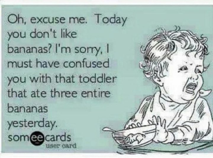 "101 Funny Mom Memes - ""Oh, excuse me. Today you don't like bananas? I'm sorry, I must have confused you with that toddler that ate three entire bananas yesterday."""