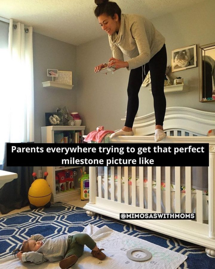 "101 Funny Mom Memes - ""Parents everywhere trying to get that perfect milestone picture like."""