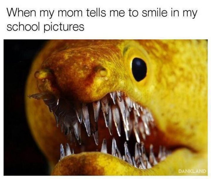 """101 Smile Memes - """"When my mom tells me to smile in my school pictures."""""""