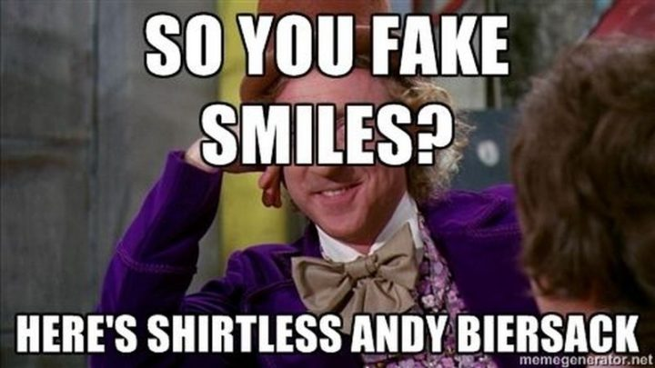 """101 Smile Memes - """"So you fake smiles? Here's shirtless Andy Biersack."""""""