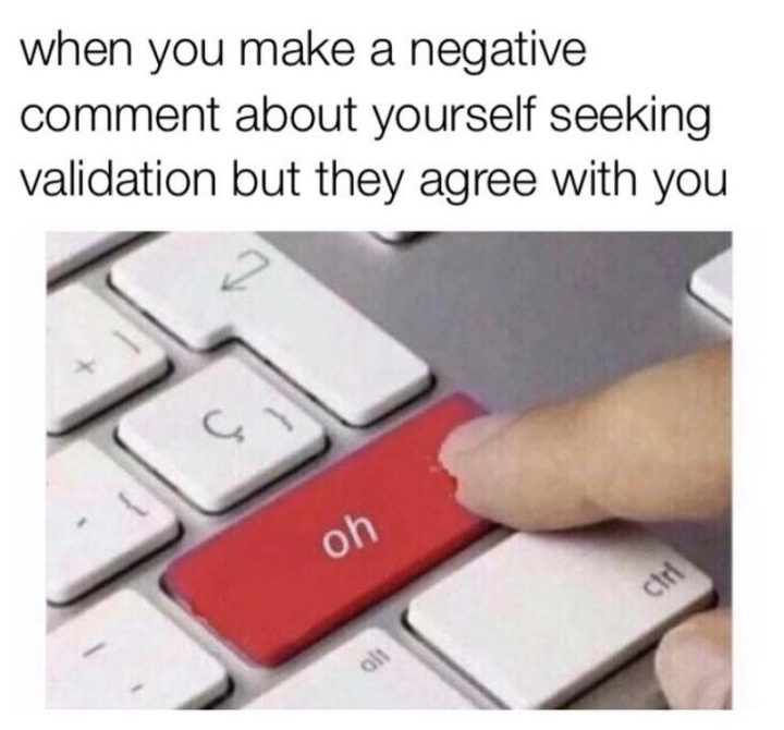 "61 Depression Memes - ""When you make a negative comment about yourself seeking validation but they agree with you."""