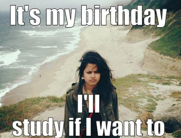 "101 It's My Birthday Memes - ""It's my birthday. I'll study if I want to."""
