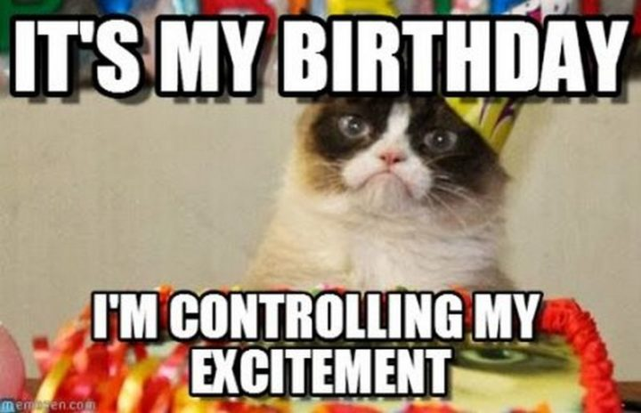 "101 It's My Birthday Memes - ""It's my birthday. I'm controlling my excitement."""