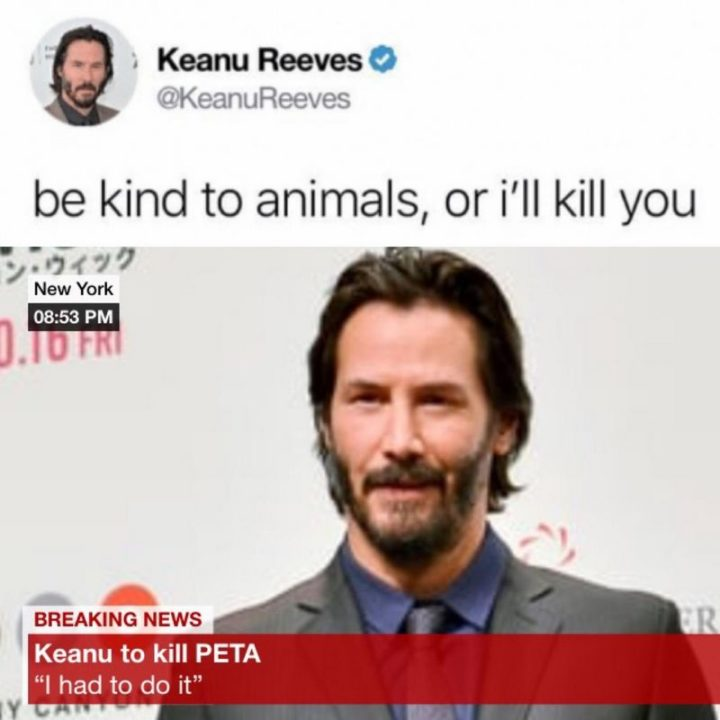 "57 Keanu Reeves Memes - ""Be kind to animals, or I'll kill you. Breaking news: Keanu to kill PETA. I had to do it."""