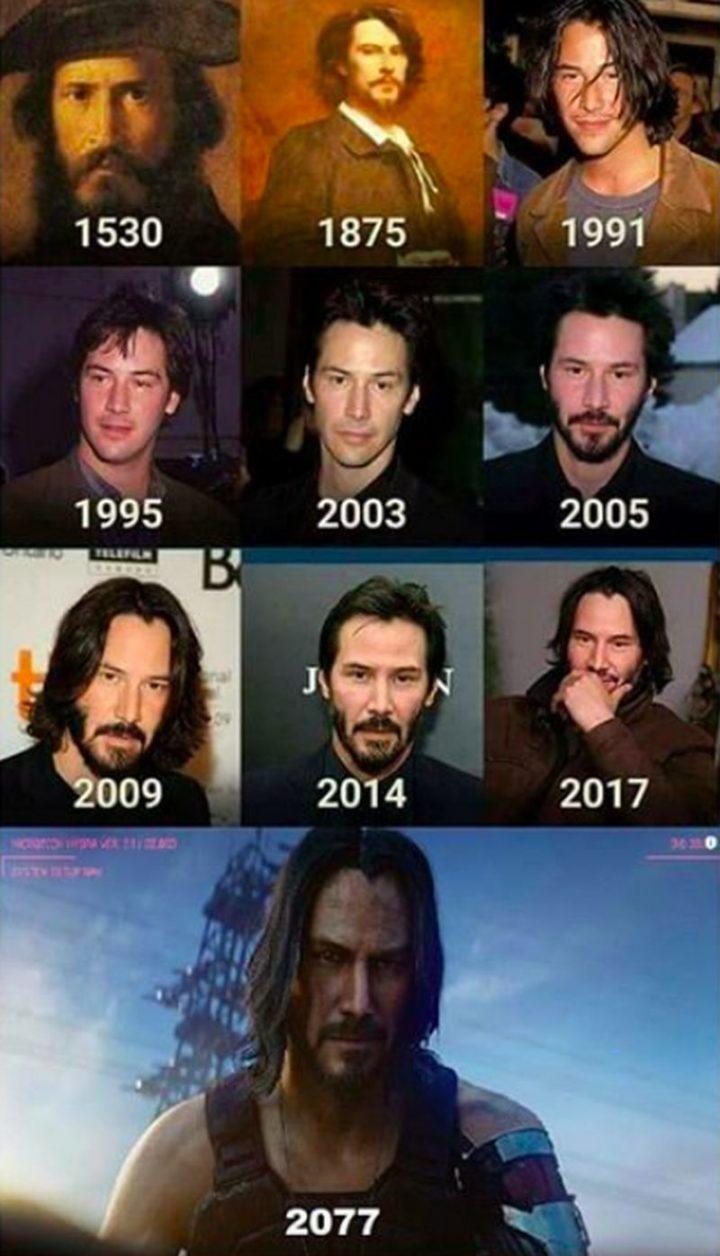 """57 Keanu Reeves Memes - """"Keanu Reeves in 1530, 1875, 1991, 1995, 2003, 2005, 2009, 2014, 2017, 2077."""""""