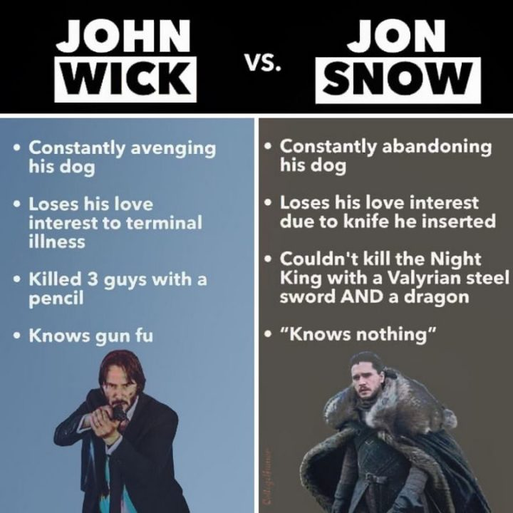 "57 Keanu Reeves Memes - ""John Wick vs. Jon Snow. John Wick is constantly avenging his dog. Jon Snow is constantly abandoning his dog. John Wick loses his love interest to a terminal illness. Jon Snow loses his love interest due to the knife he inserted. John Wick killed 3 guys with a pencil. Jon Snow couldn't kill the Night King with a Valyrian steel sword AND a dragon. John Wick knows gun fu. Jon Snow knows nothing."""