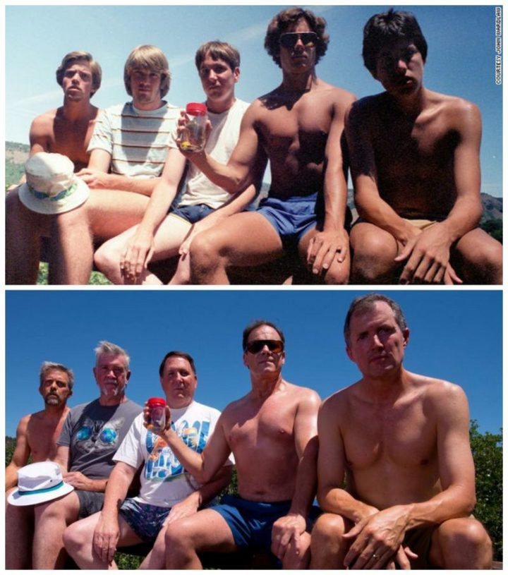 "35 Then and now pictures - ""Every five years from 1982-2017, five men take the same photo at their cabin at Copco Lake in California."""