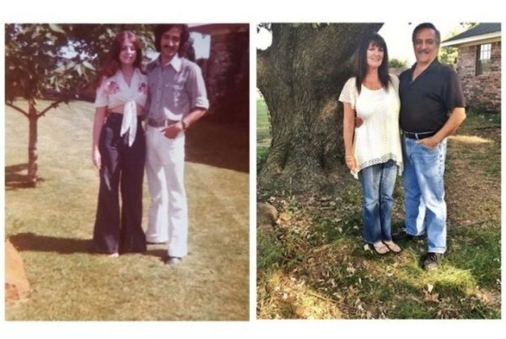 "35 Then and now pictures - ""Then and now pictures of my parents standing by their tree in 1975 and now in 2016."""