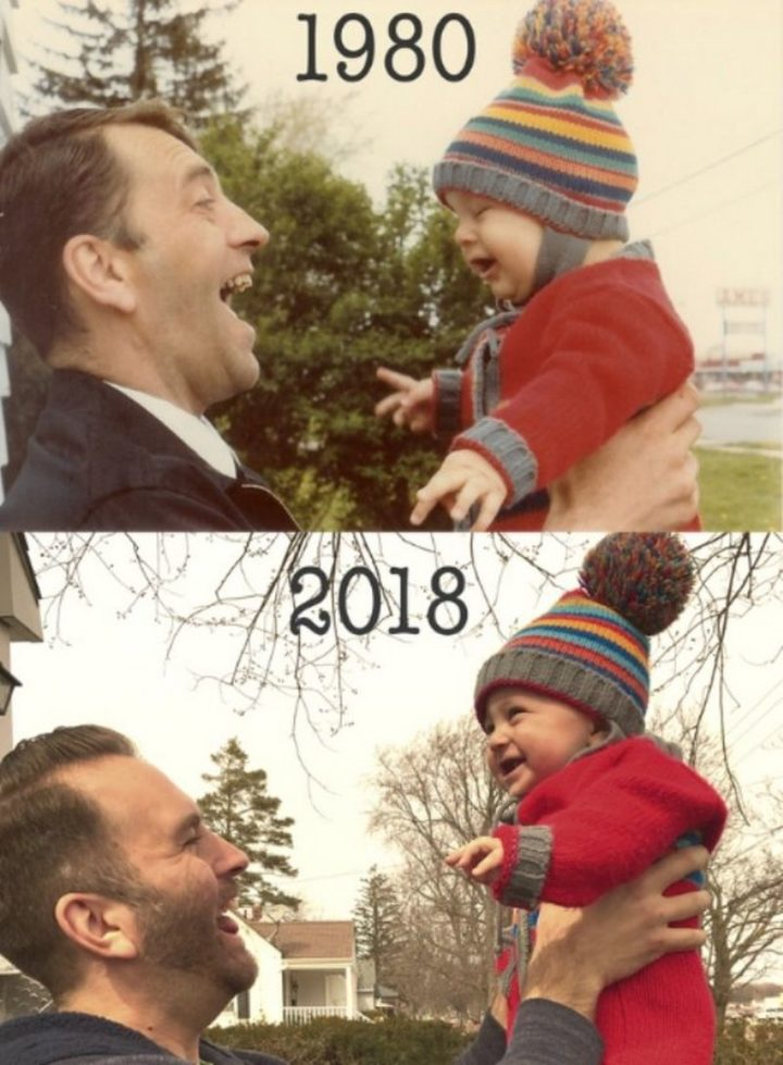 "35 Then and now pictures - ""My father and I in 1980, and my son and I in 2018."""