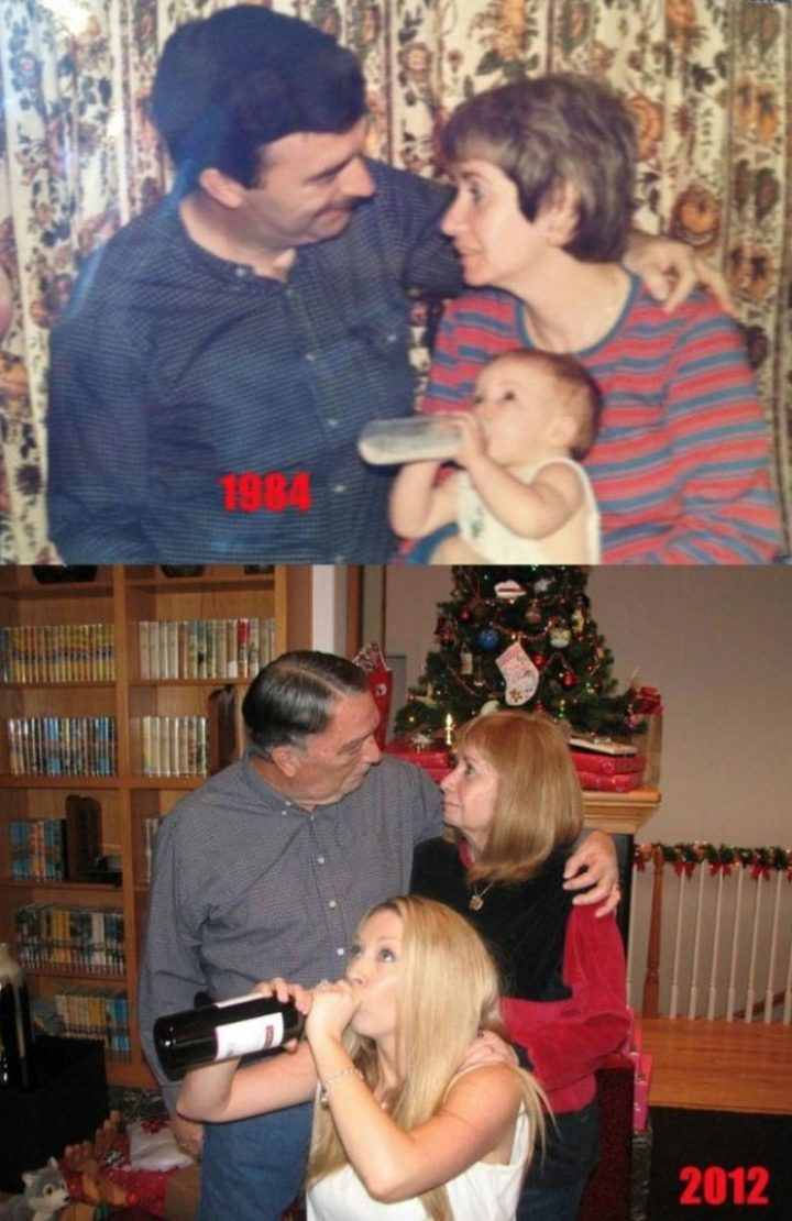 "35 Then and now pictures - ""Christmas 1984 to Christmas 2012. The only thing that has changed is my choice of bottled beverage."""