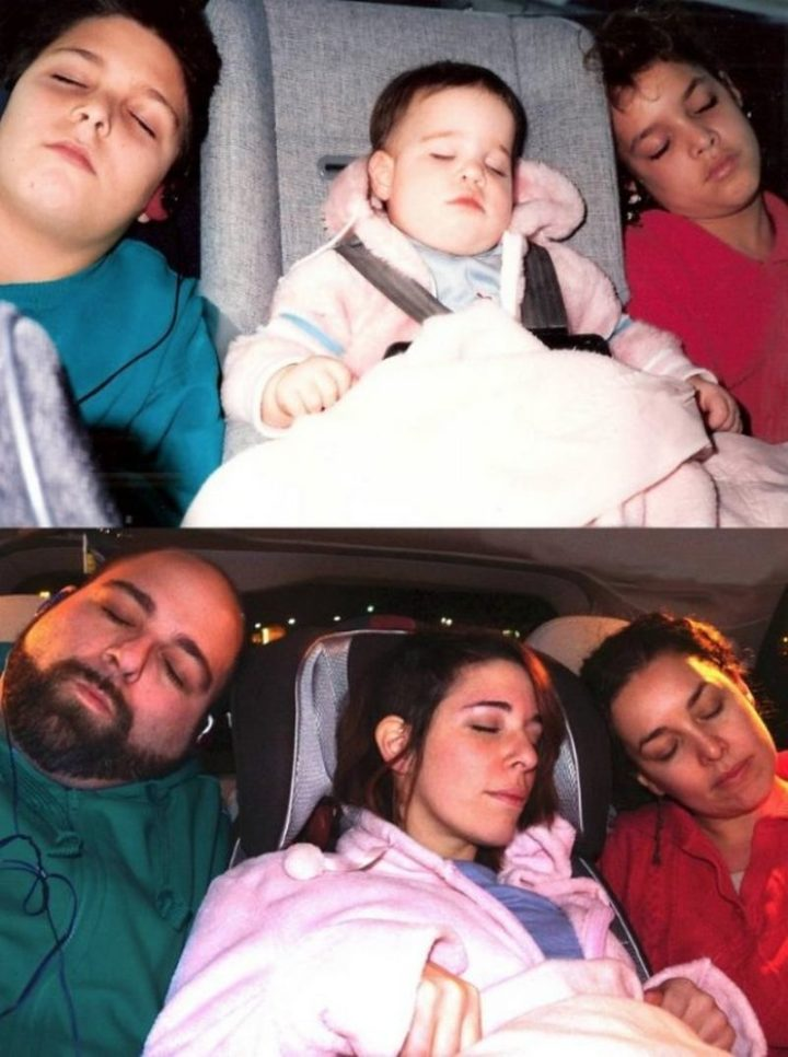 "35 Then and now pictures - ""As a wedding anniversary gift for my folks, my siblings and I did this. 25 years difference…"""