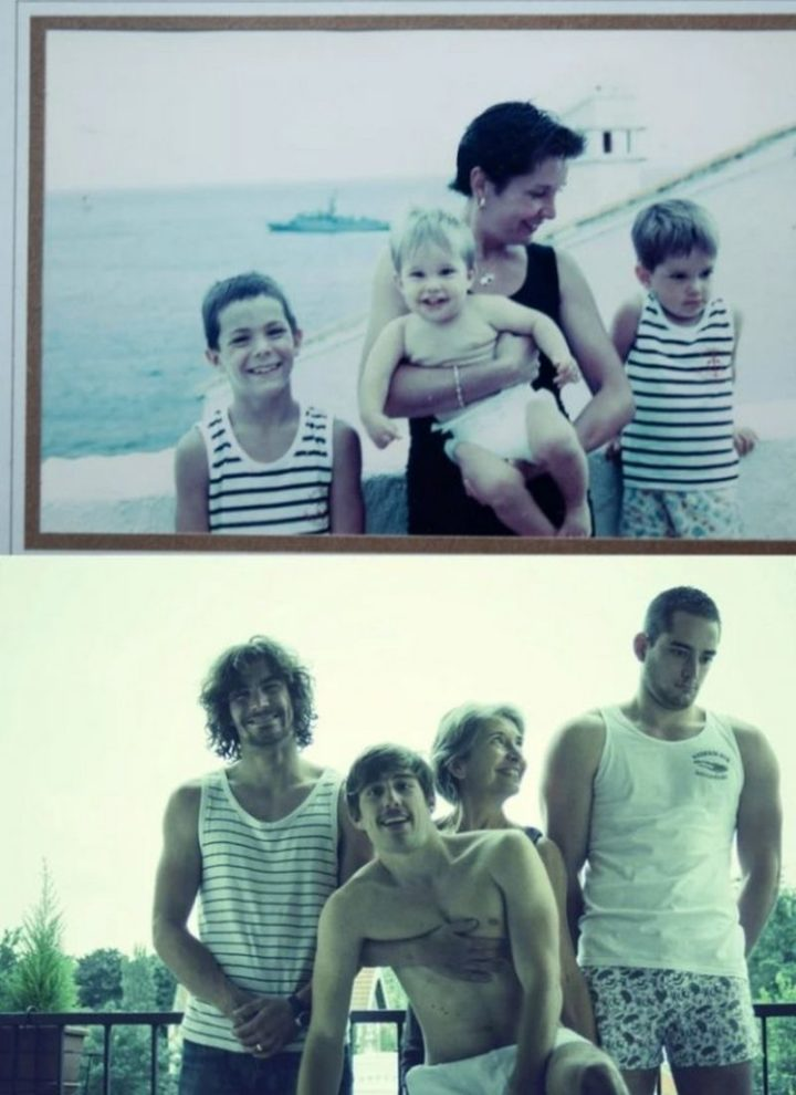 "35 Then and now pictures - ""Then and now pictures of a loving mom with her three sons!"""