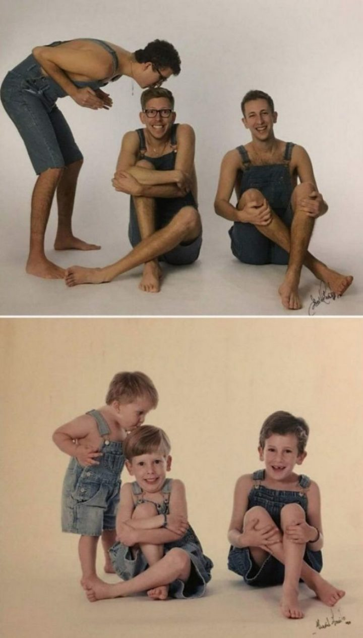 "35 Then and now pictures - ""Exactly 20 years later, we went back to the same photographer to surprise our parents with a gift."""