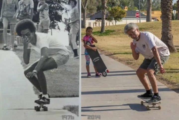 "35 Then and now pictures - ""Still skating 38 years later."""