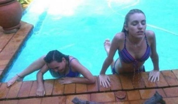 Two Types of People - Two types of girls climbing out of a pool.